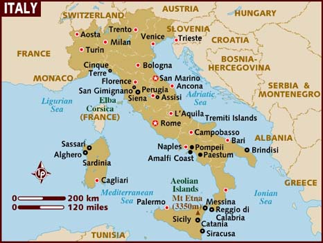 Detailed Map of Italy